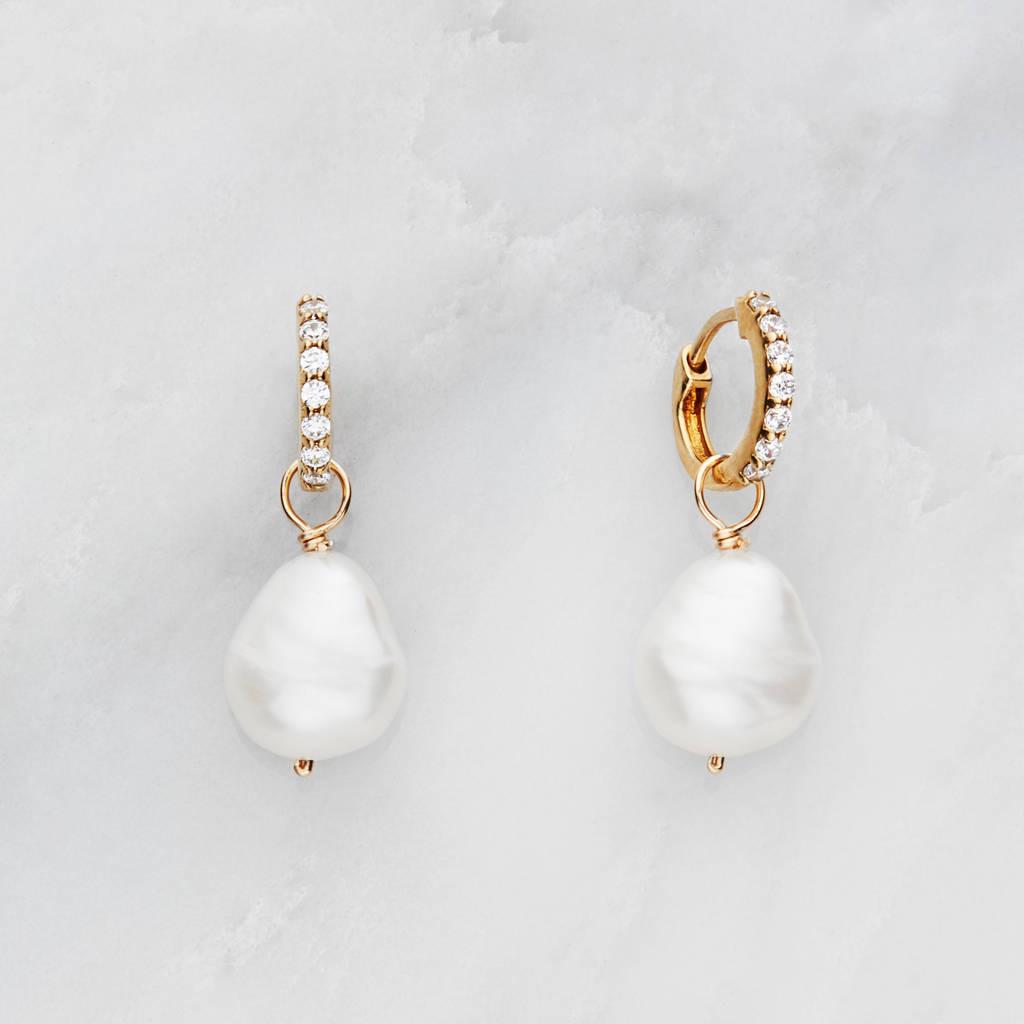 Pearl Drop Earrings  Gold Silver Huggie Pearl Drop Earrings By Lily & Roo
