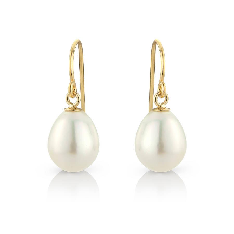Pearl Drop Earrings  tear drop pearl earrings with gold fill hooks by argent of