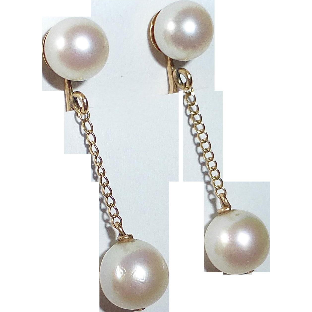Pearl Drop Earrings  14k Yellow Gold Pearl Drop Earrings from bejewelled on