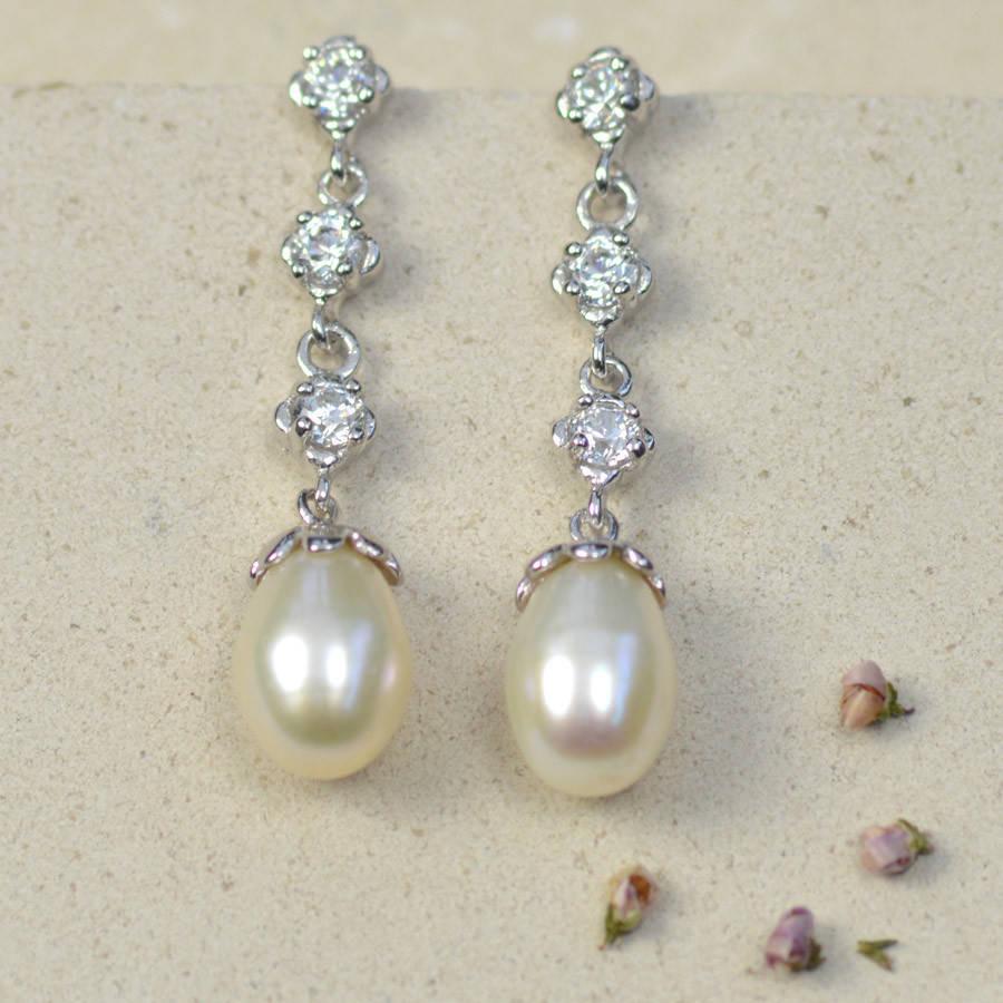 Pearl Drop Earrings  delicate drop pearl earrings by tigerlily jewellery
