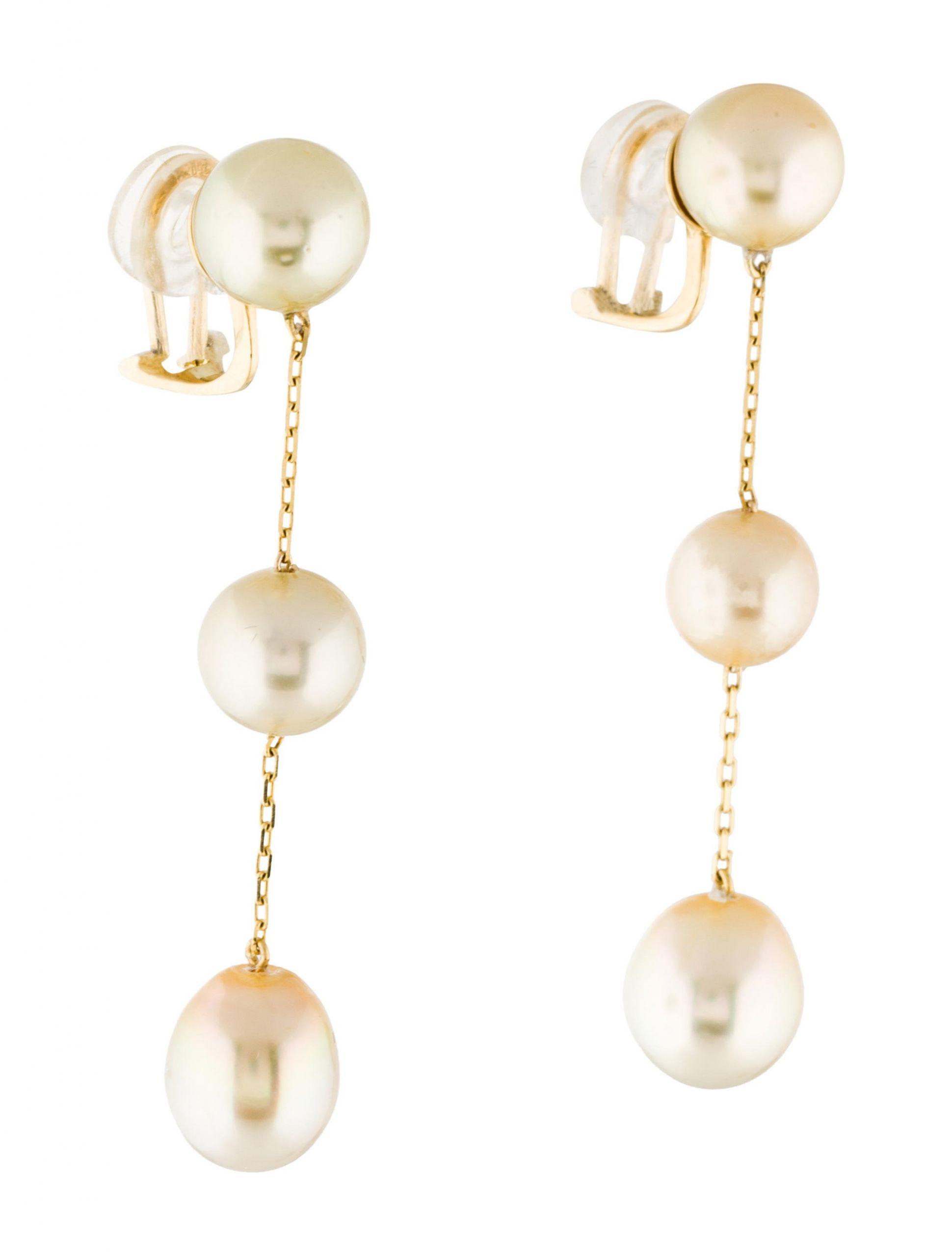 Pearl Drop Earrings  18K Yellow Pearl Drop Earrings Earrings EARRI