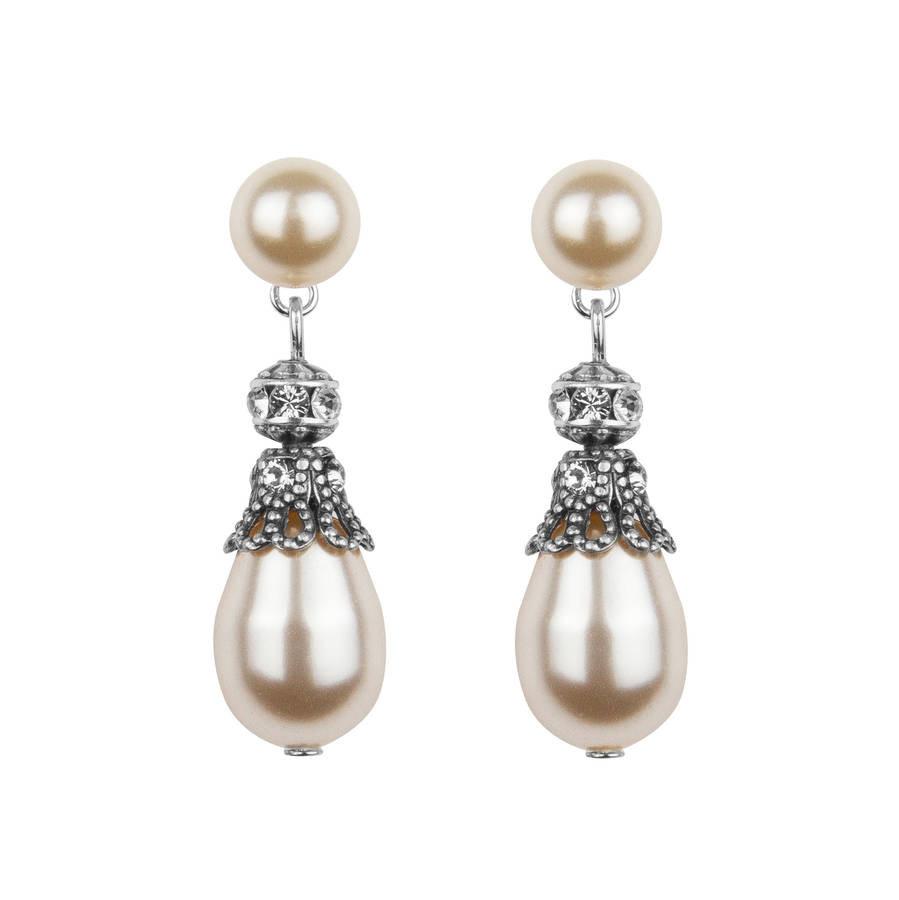 Pearl Drop Earrings  rhinestone embellished pearl drop earrings by katherine