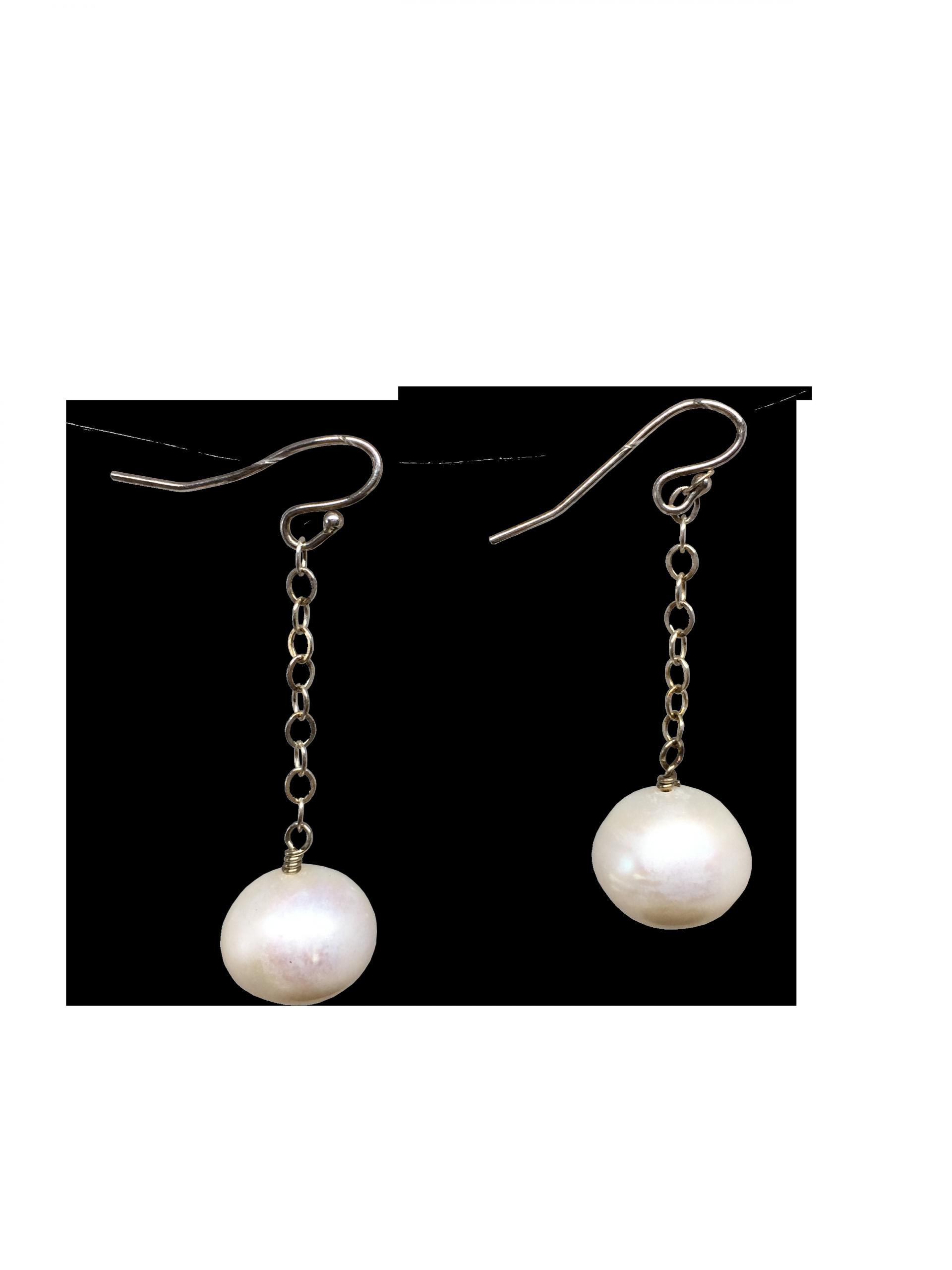 Pearl Drop Earrings  Sterling Silver Pearl Earrings 10 mm Round Drop Earrings