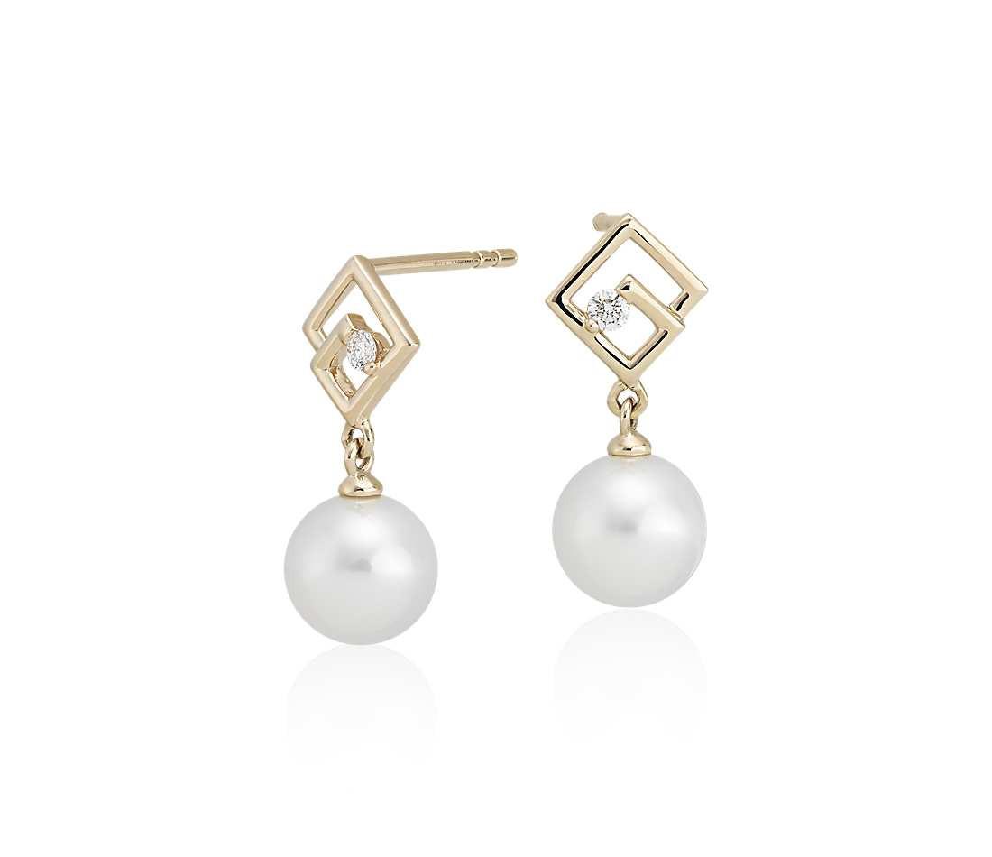 Pearl Drop Earrings  Geometric Freshwater Pearl Drop Earrings with Diamond