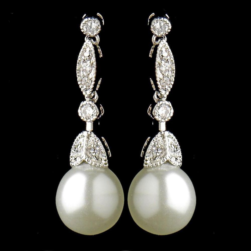 Pearl Drop Earrings  Simple Cubic Zirconia Vintage Bridal Pearl Drop Earrings E