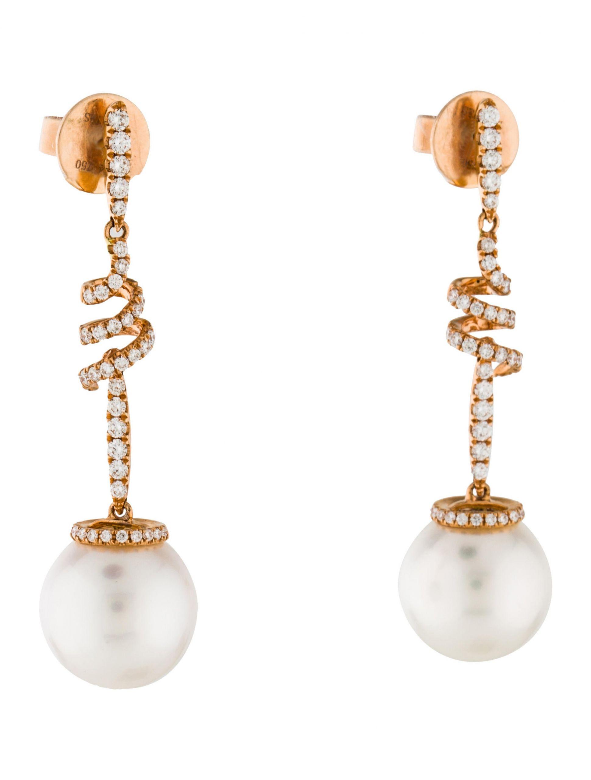 Pearl Drop Earrings  Tara Pearls 18K Diamond & Pearl Drop Earrings Earrings