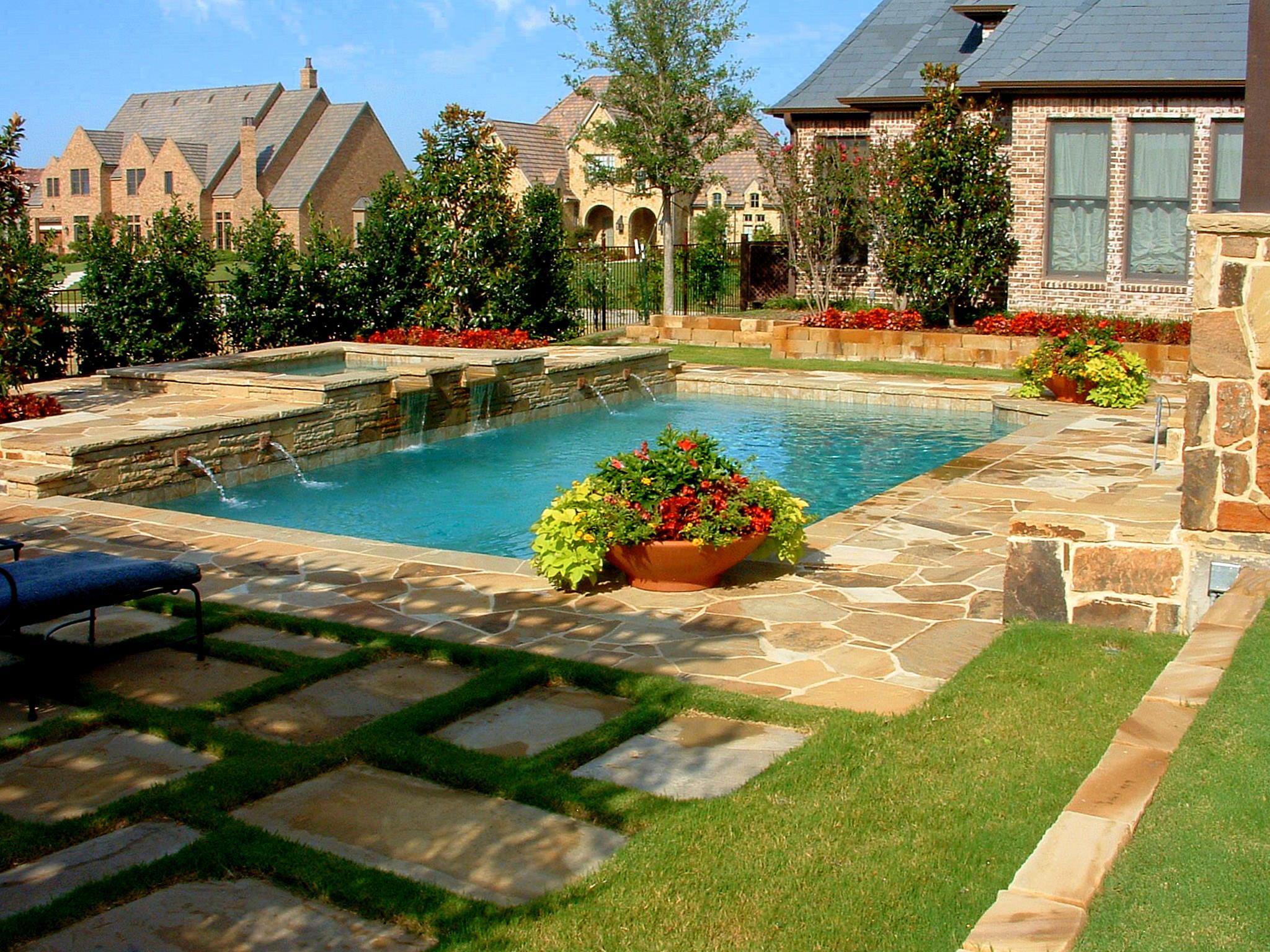 Pool Landscape Design  Backyard Landscaping Ideas Swimming Pool Design