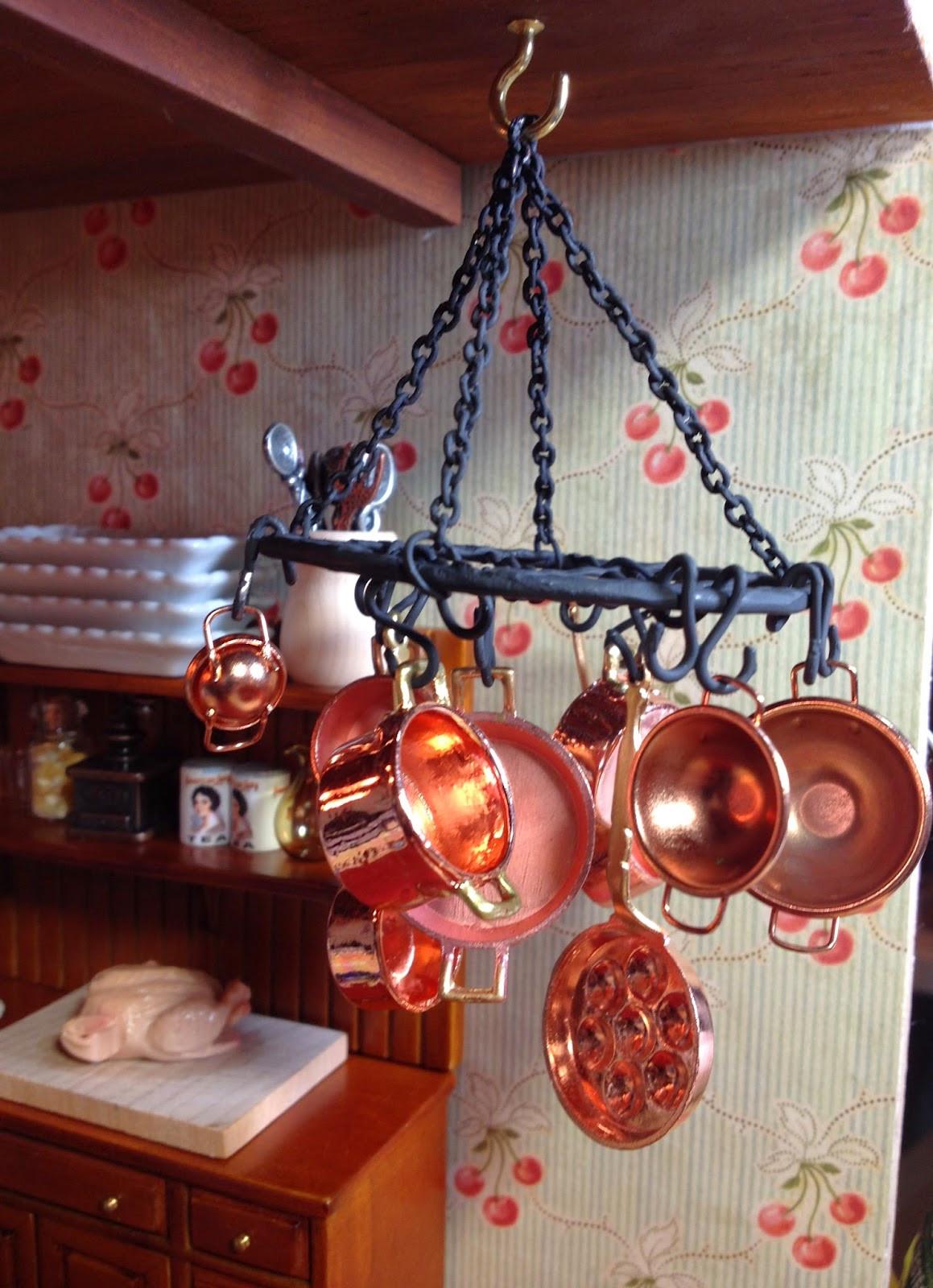 Pot Rack DIY  Jocelyn s Mountfield Dollhouse DIY Hanging Metal Pot Rack
