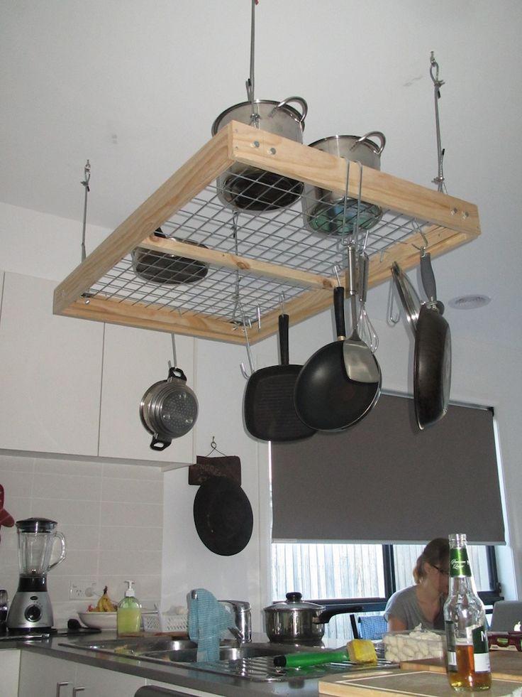 Pot Rack DIY  Pot Rack DIY Project in 2019 Kitchen