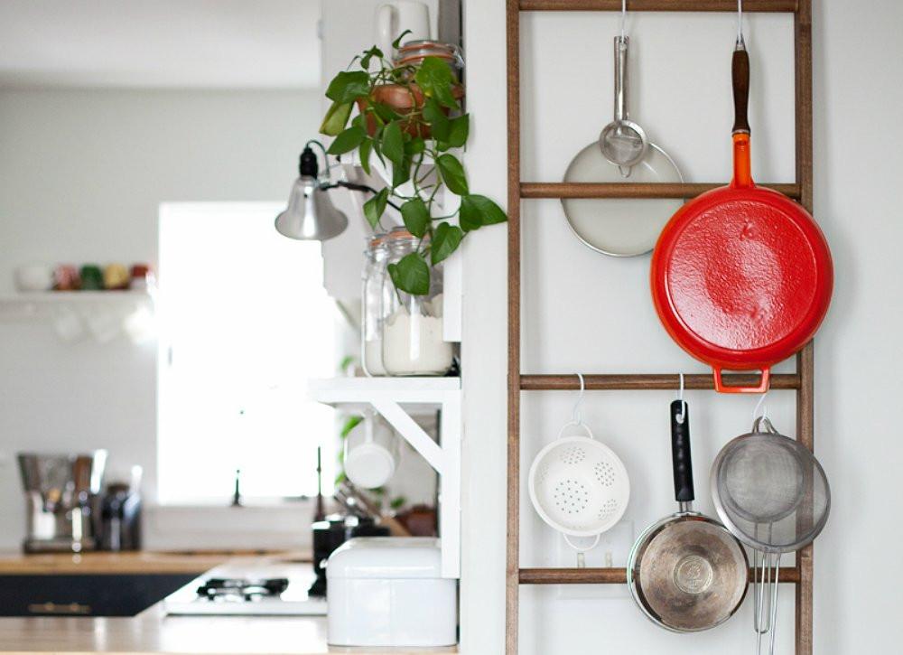 Pot Rack DIY  DIY Ladder Pot Rack How to Organize Your Kitchen 21