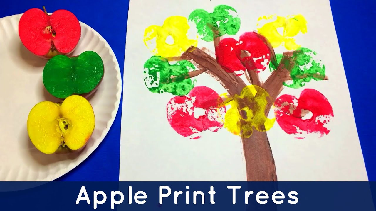 Preschool Art Project Ideas  Apple Print Trees Preschool and Kindergarten Art Project