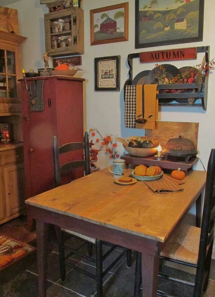 Primitive Kitchen Wall Decor  table against wall