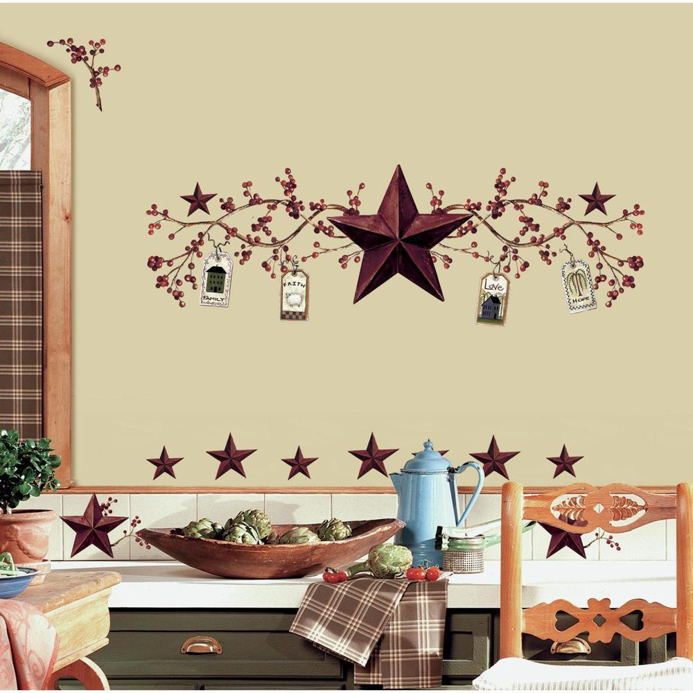 Primitive Kitchen Wall Decor  COUNTRY BERRIES and STARS stick ups rustic folk decals