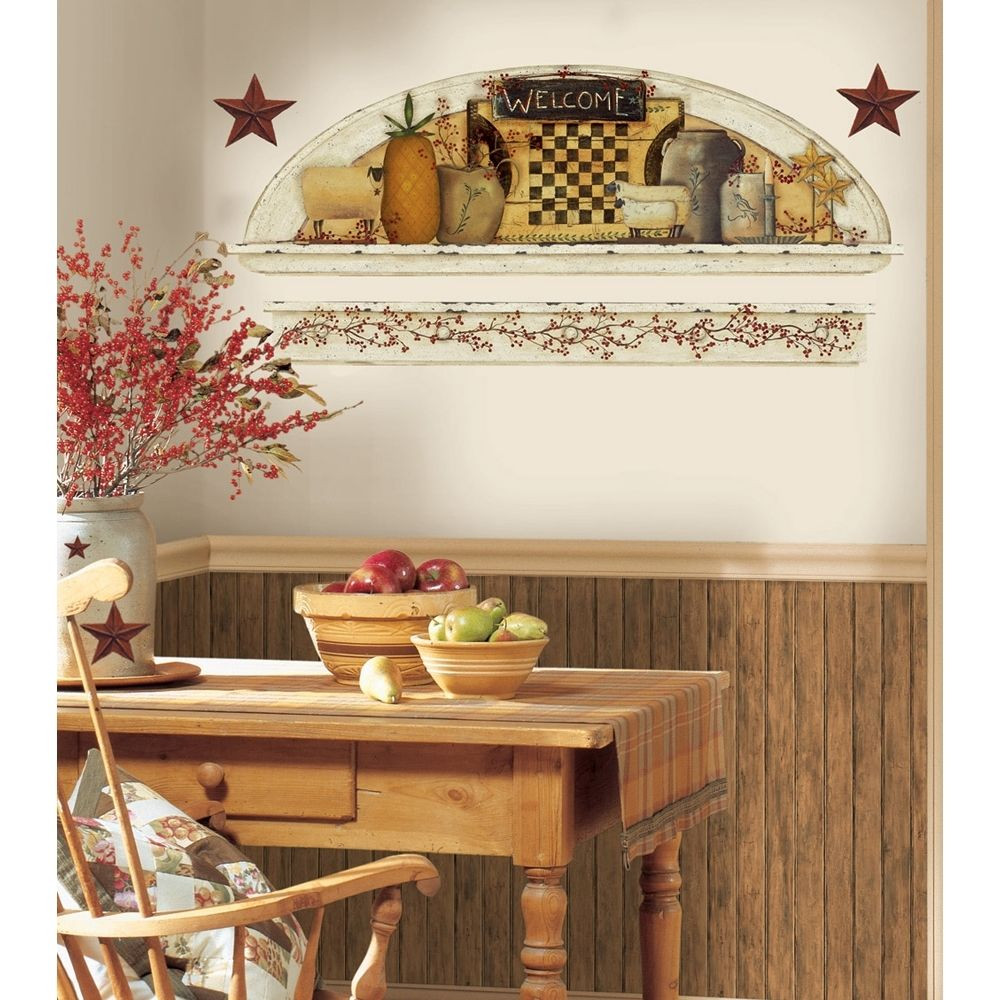 Primitive Kitchen Wall Decor  PRIMITIVE ARCH GiaNT WALL DECALS Country Kitchen Stars