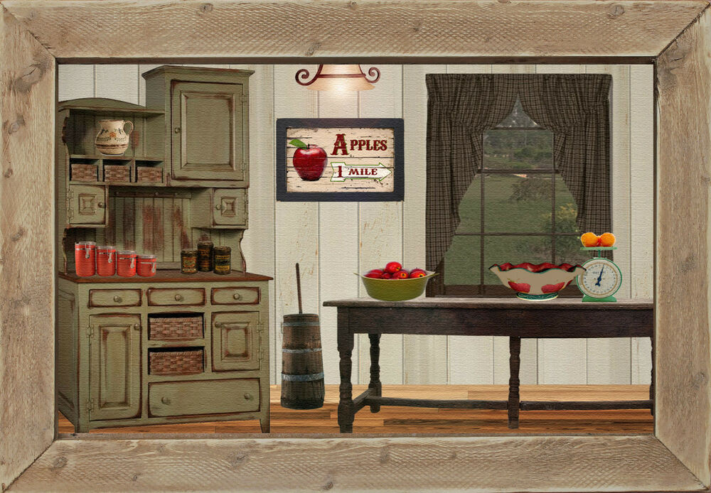 Primitive Kitchen Wall Decor  Primitive Country Farm House Kitchen Home Decor Apple