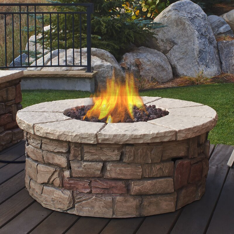 Propane Fire Pit Table  Real Flame Sedona Concrete Propane Fire Pit Table