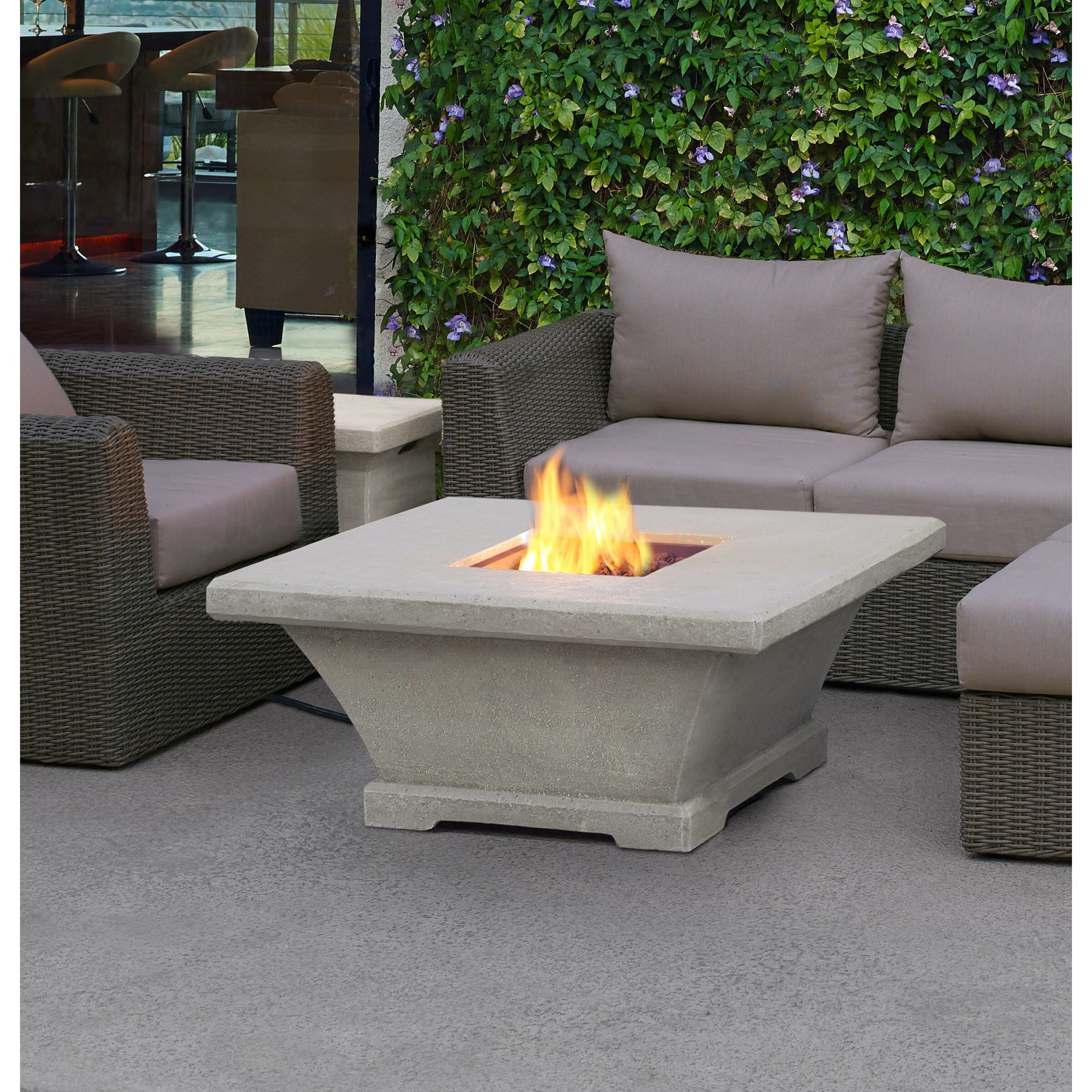 Propane Fire Pit Table  Real Flame Monaco Square Low Profile Propane Fire Pit