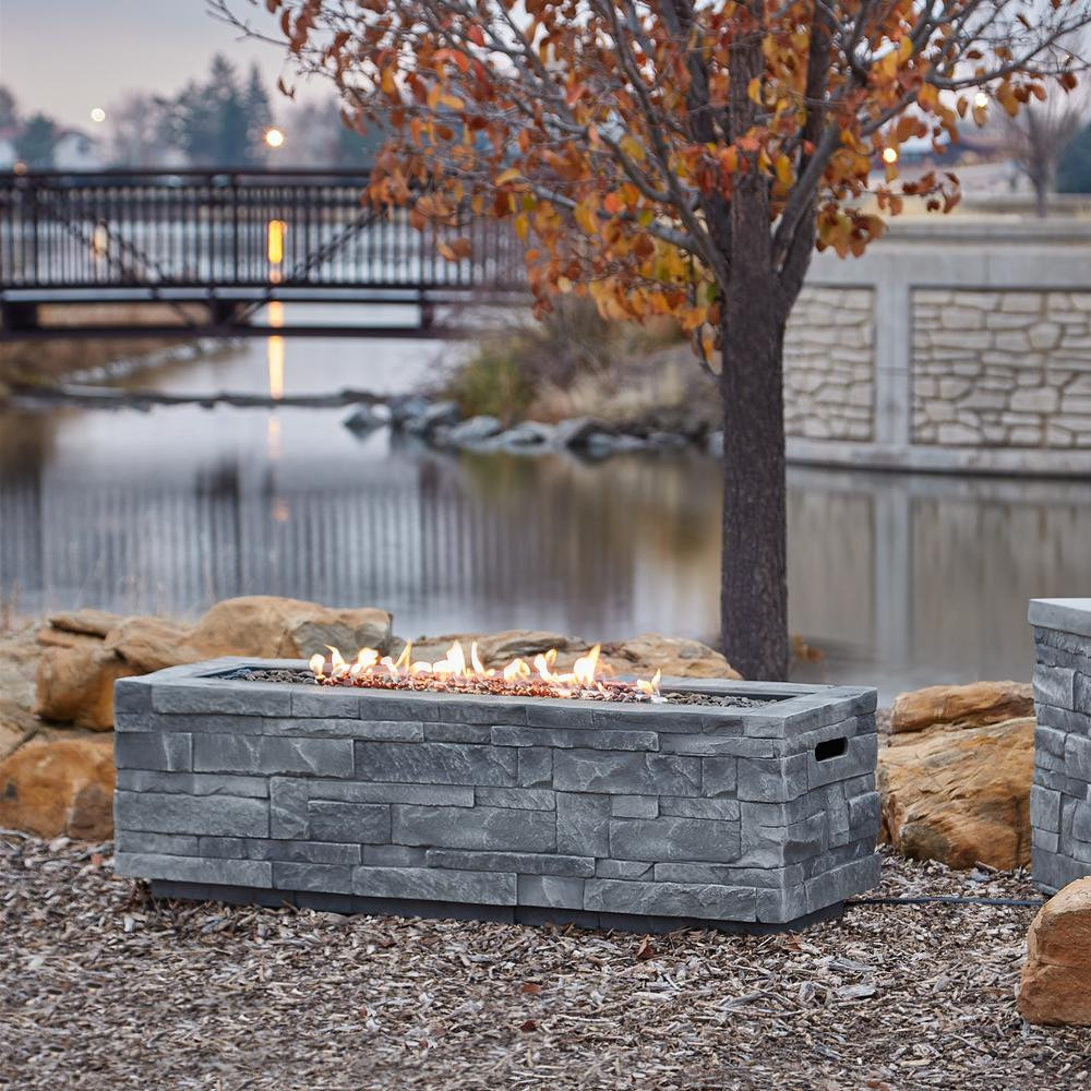 Propane Fire Pit Table  Real Flame Ledgestone 48 in x 15 in Rectangle Fiber