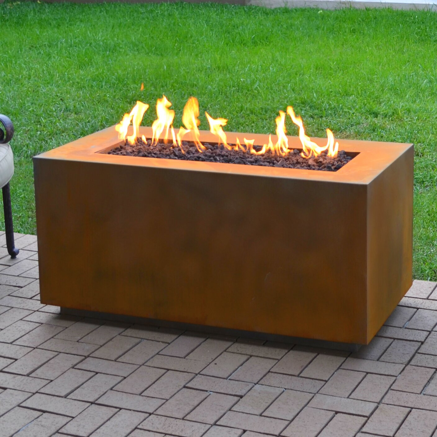 Propane Fire Pit Table  The Outdoor Plus Corten Steel Propane Fire Pit Table