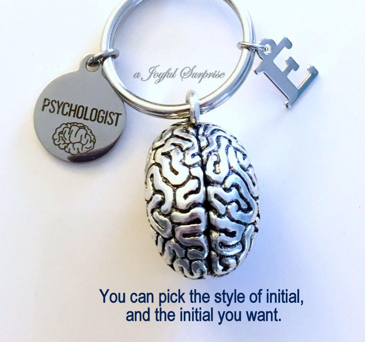 Psychology Graduation Gift Ideas  Psychologist KeyChain Brain Keyring Psych Student Key
