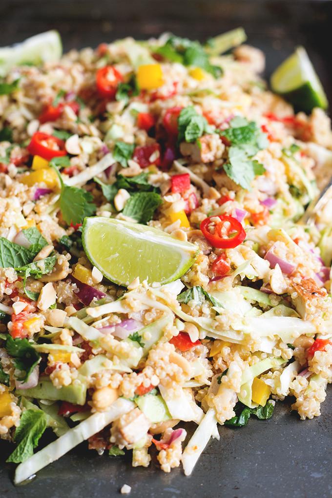 Quinoa Salad Dressing  Vegan Thai Quinoa Salad with Peanut Lemongrass Dressing