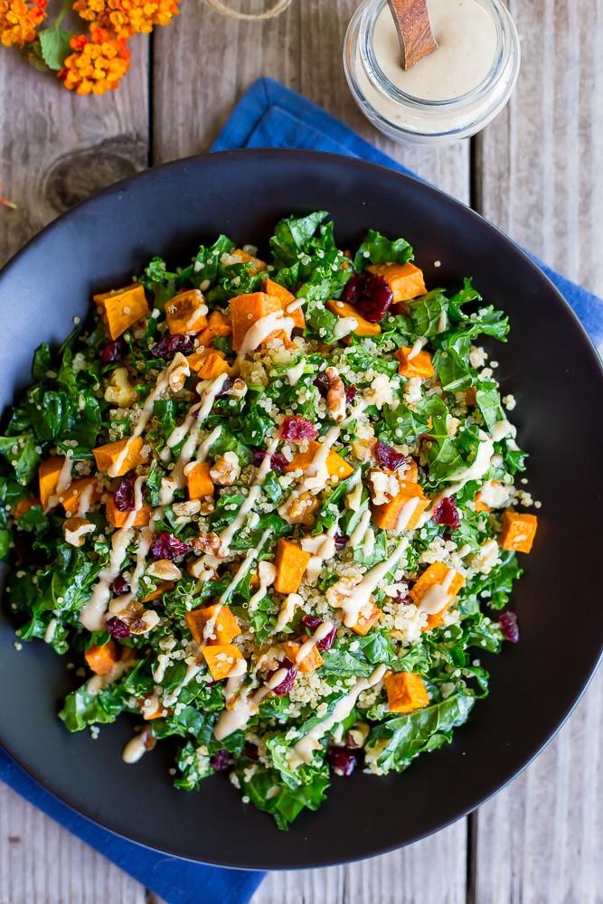 Quinoa Salad Dressing  Fall Quinoa Salad with Kale Sweet Potato & Maple Tahini