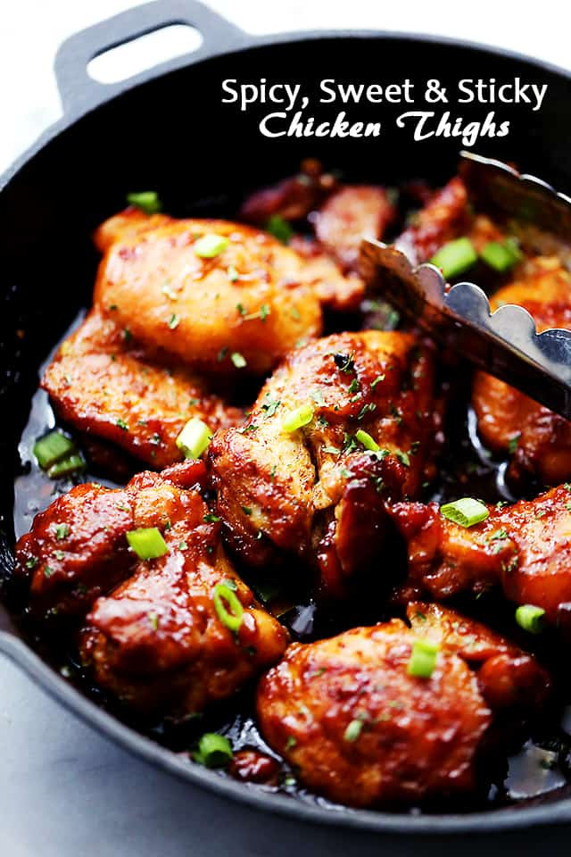 Recipes For Chicken Thighs  Spicy Sweet and Sticky Chicken Thighs Diethood