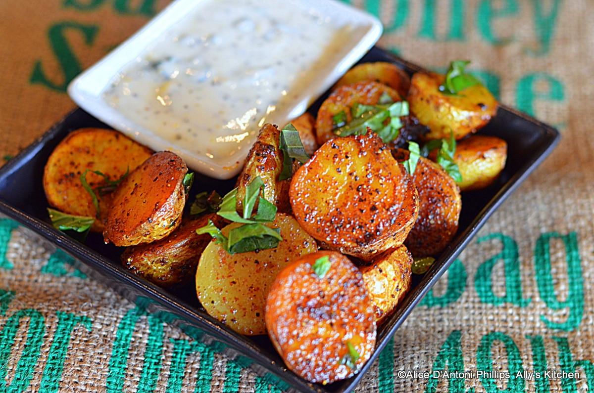 Roasted Baby Gold Potatoes  Ras el Hanout Roasted Baby Gold Potatoes with Labneh Sauce