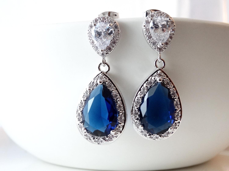 Royal Blue Earrings  Navy Blue Earrings Royal Blue Earrings Dark Blue Bridal