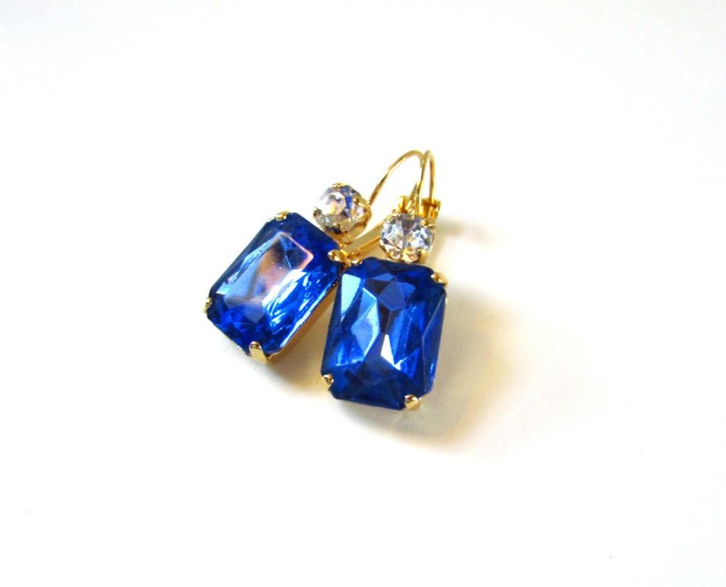 Royal Blue Earrings  Royal Blue Earrings Blue Crystal Jewelry Blue by damesalamode