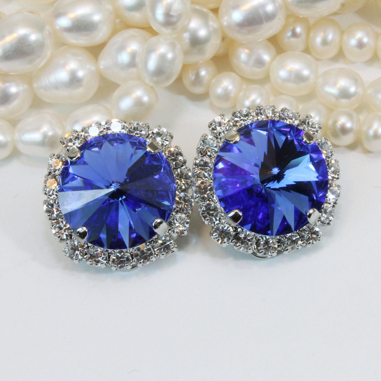 Royal Blue Earrings  Sapphire Blue Crystal Clip earrings Royal Blue Clip s
