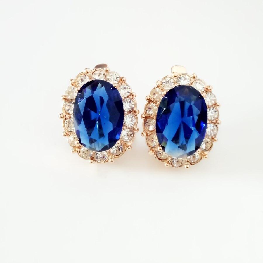 Royal Blue Earrings  Luxury Earring Royal Blue Cubic Zircon Big Earring 585