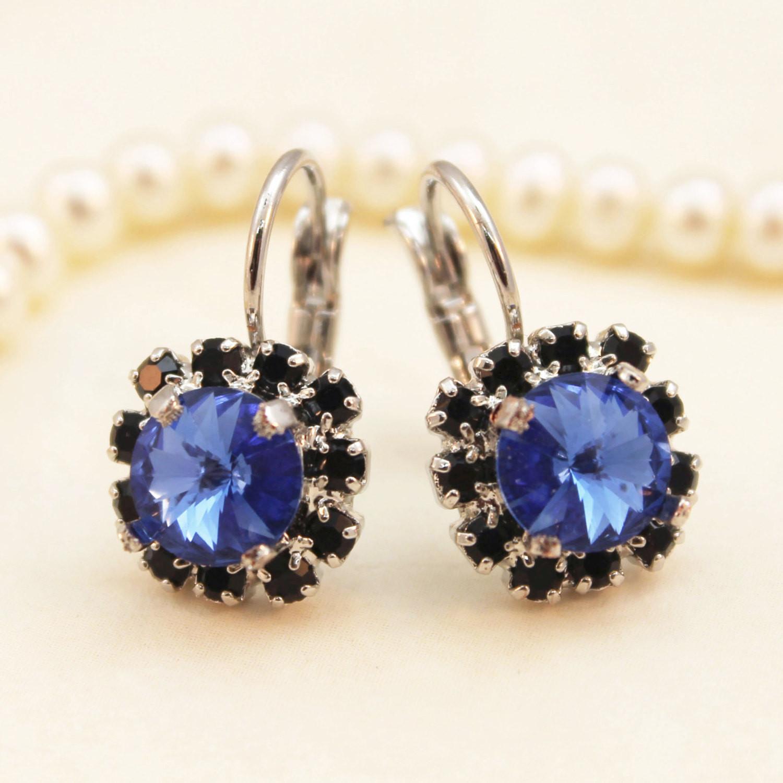 Royal Blue Earrings  Royal Blue Black Earrings Sapphire Blue Black Drop earrings