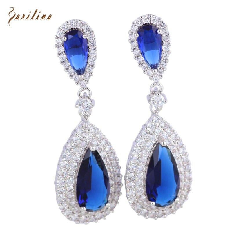 Royal Blue Earrings  Dangle earrings silver Royal Blue White Cubic Zirconia
