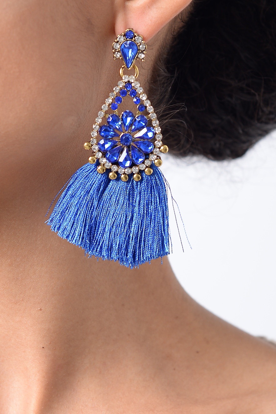 Royal Blue Earrings  Stylish Royal Blue Tassel Earrings