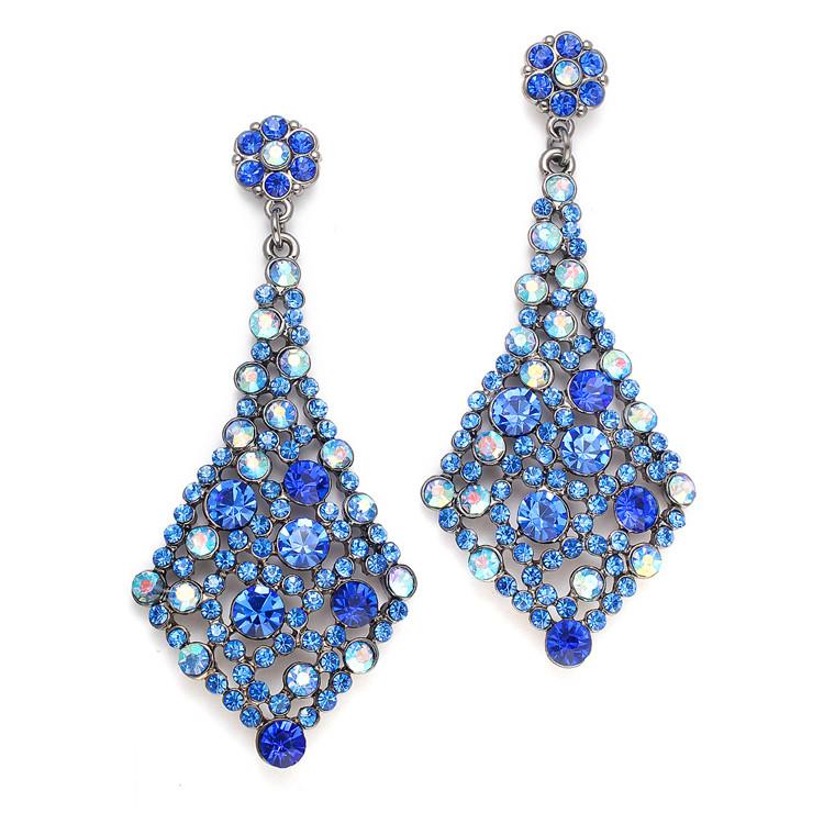 Royal Blue Earrings  Royal Blue Crystal Wholesale Bridesmaids or Prom Earrings