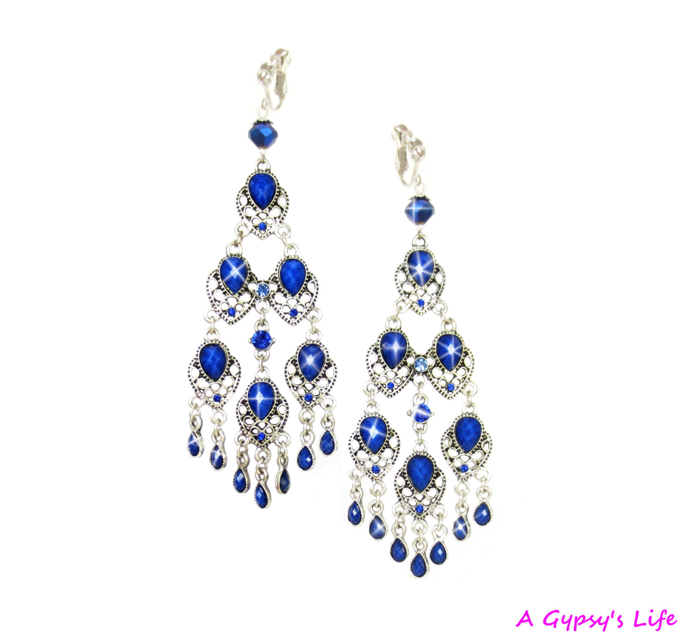 Royal Blue Earrings  Gorgeous Royal Blue Gypsy Earrings Extra Long Silver Dangle
