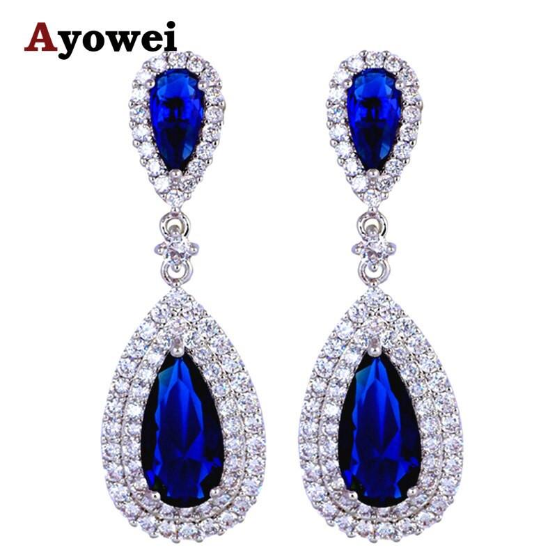 Royal Blue Earrings  Luxury Saphire Earrings for Women Royal Blue Silver Filled