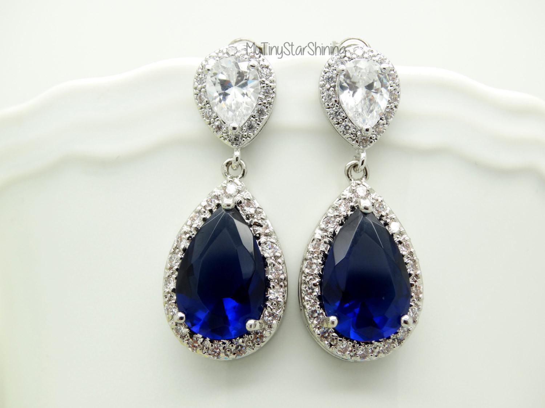 Royal Blue Earrings  Navy Blue Earrings Royal Blue Earrings Dark by