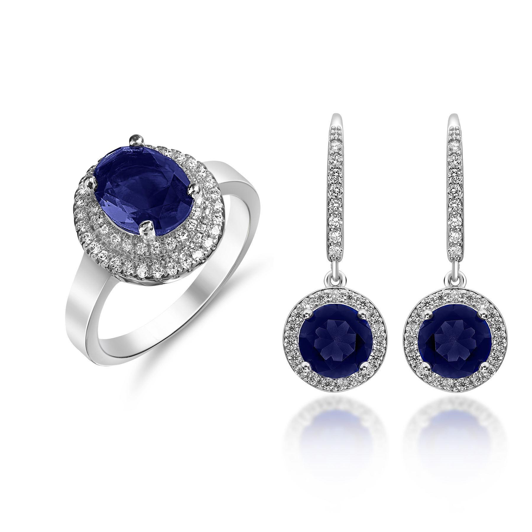 Royal Blue Earrings  Royal Blue Crystal Ring & Drop Earrings Set
