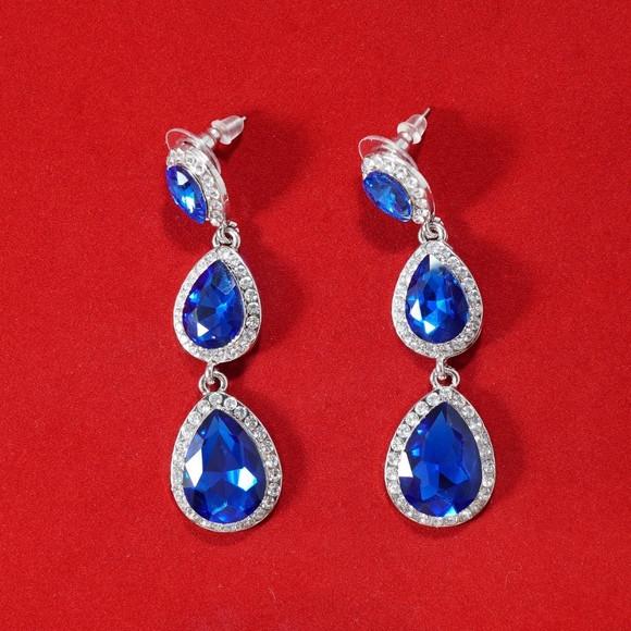 Royal Blue Earrings  Jewelry Royal Blue Rhinestone Earrings