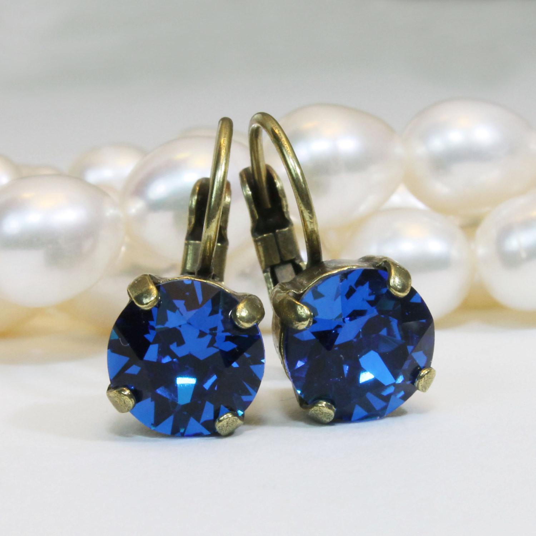 Royal Blue Earrings  Royal Blue Earrings Cobalt Blue Swarovski Crystal Royal Blue