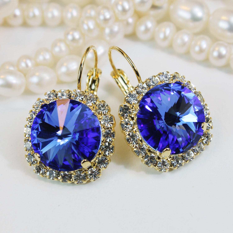 Royal Blue Earrings  Sapphire Blue Earrings Royal Blue Gold Drop Earring Royal Blue