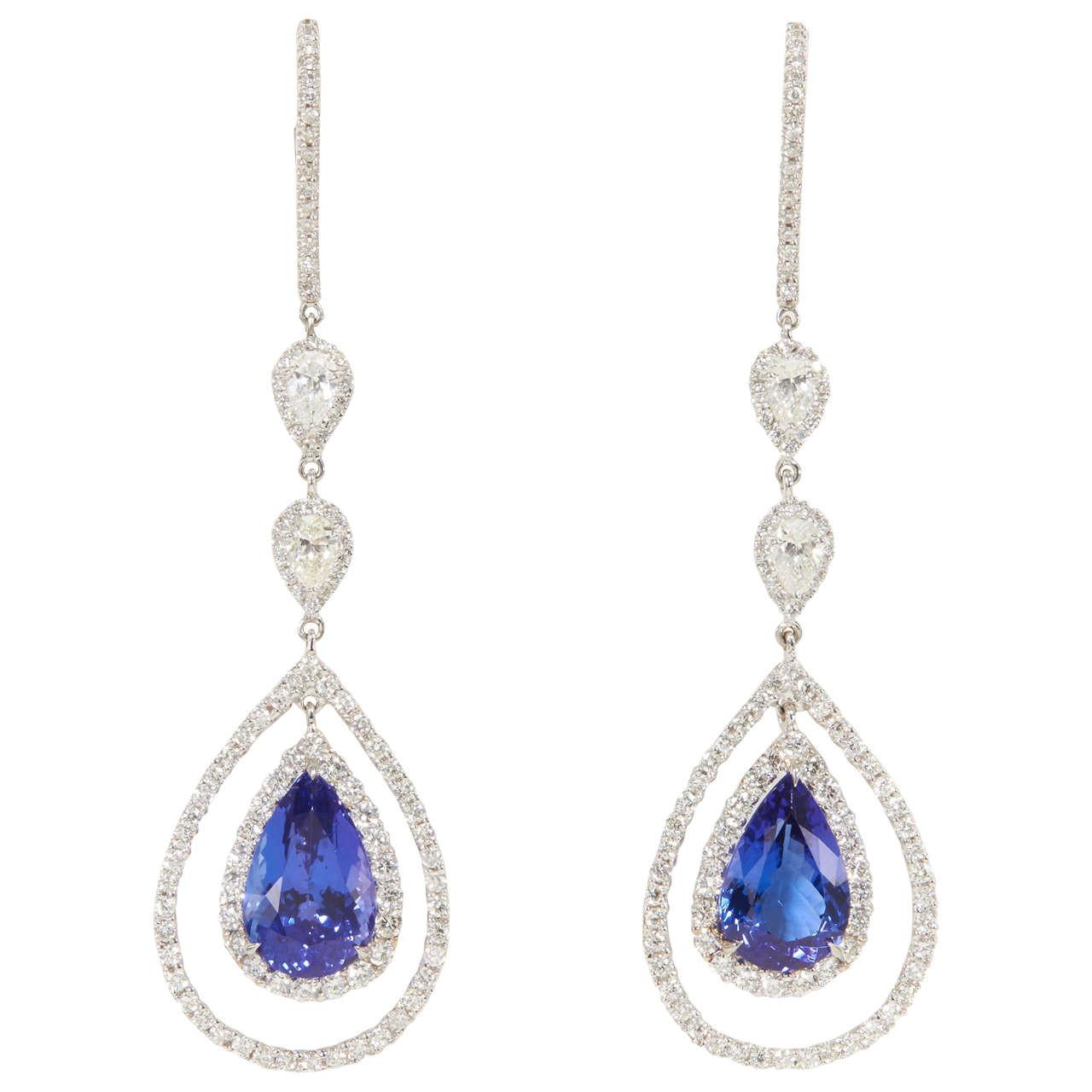 Royal Blue Earrings  Rare Royal Blue Tanzanite Diamond Gold Drop Earrings For
