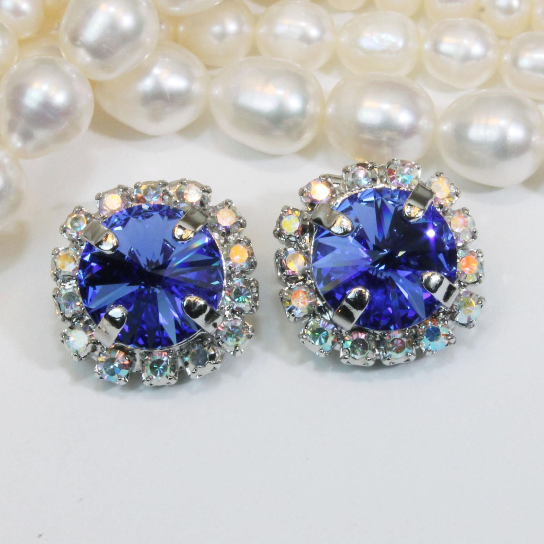Royal Blue Earrings  Royal Blue Clip on earrings Sapphire Blue Cobalt AB Swarovski