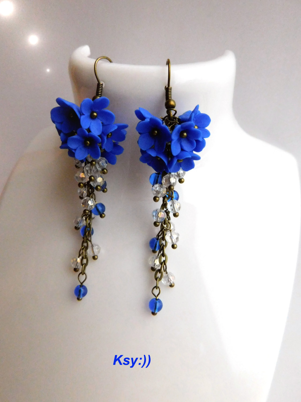 Royal Blue Earrings  Royal Blue Earrings Blue Cluster Earrings by BeatifulByKsy
