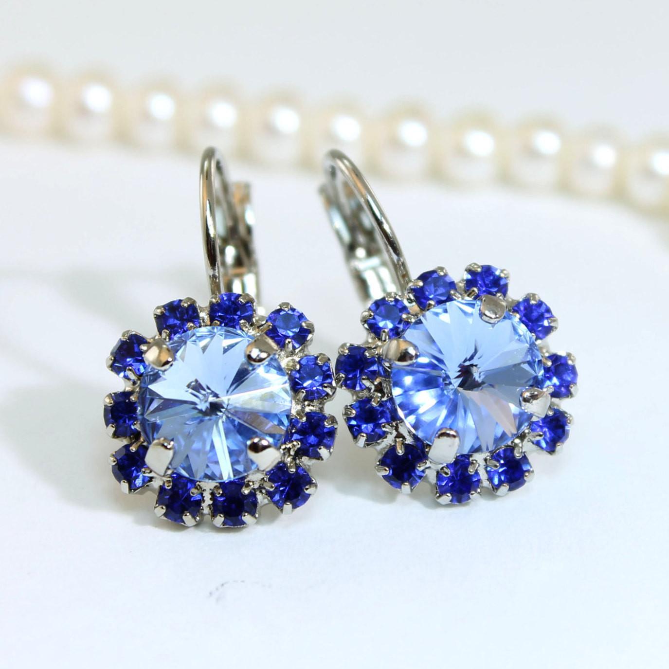 Royal Blue Earrings  Sapphire Blue Earrings Royal Blue Earrings Swarovski Crystal