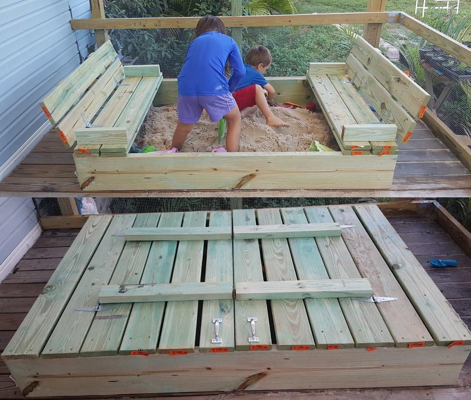 Sandbox Plans DIY  DIY Sandbox with Fold out Bench Seats – MoneyRhythm