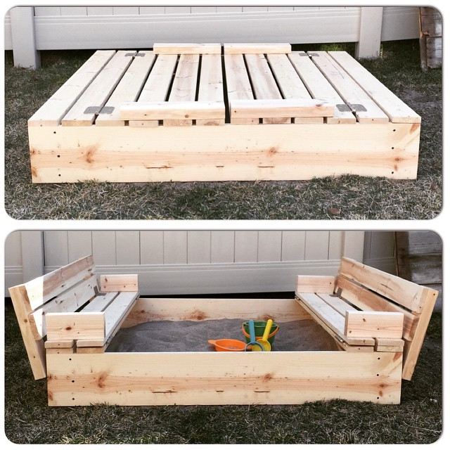Sandbox Plans DIY  DIY Sandbox with Fold Out Seats Mrs Happy Homemaker