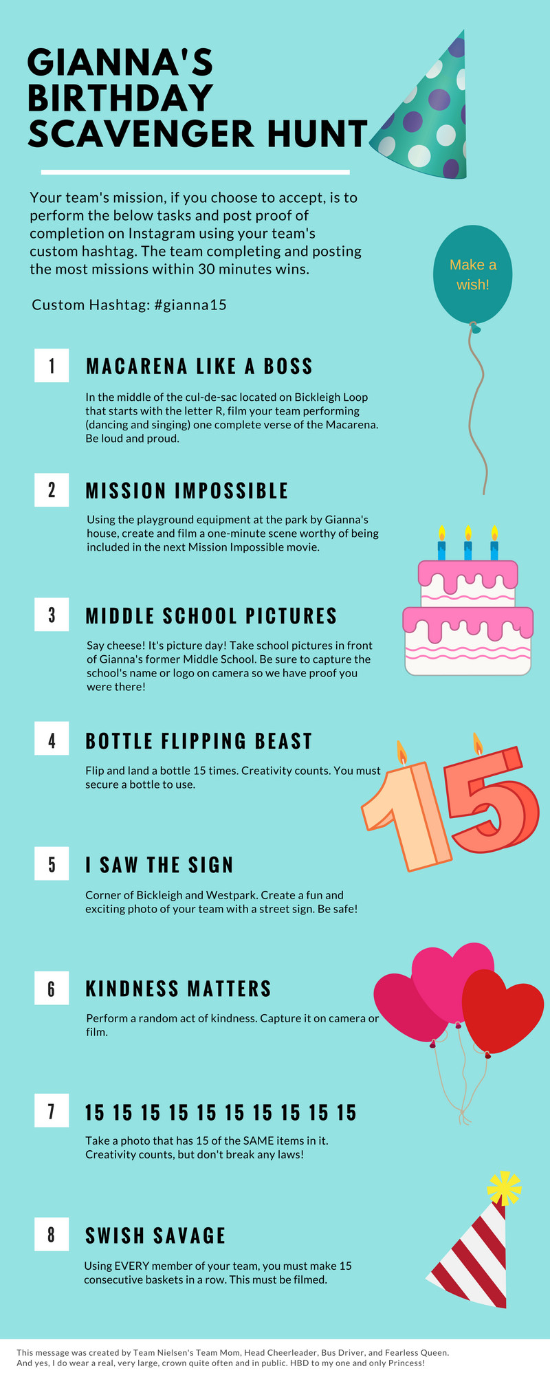 Scavenger Hunt Birthday Party Ideas  I created this DIY scavenger hunt for my daughter s 15th